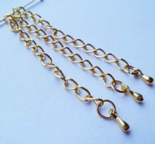 Extender chains. Gold plated x 3. App. 57mm